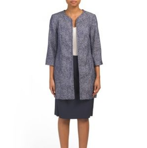 Isabella 2piece navy blue duster jacket suit